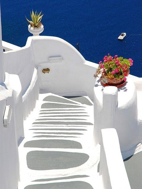 GreeceSantorini Greece, Stairs, Dreams Vacations, Blue, Greece Travel, Places, Greek Islands, Weights Loss, Easter Treats