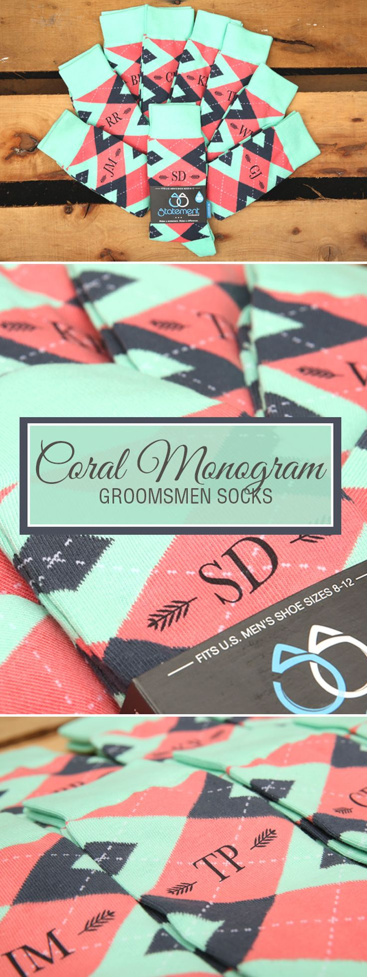 Looking for a way to customize your mint and coral wedding? We are now customizing our most popular wedding colors with wedding dates, wedding text and monograms. Give your groomsmen in your wedding a gift they will never forget that will always remind them of your big wedding day: custom mint and coral groomsmen socks. Shop these mint and coral custom monogram socks and more.