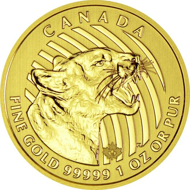 Growling Cougar 1 Unze Gold 2015,  	99999/100000 Gold