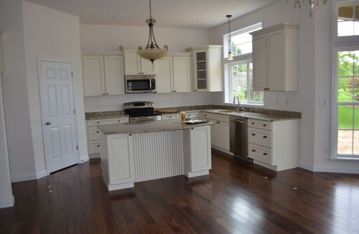 Walnut floors off white cabinets kitchen ideas for Walnut kitchen designs