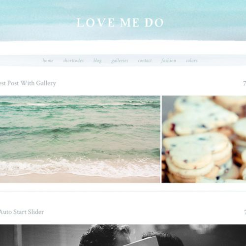This Chic, Watercolor Wordpress Theme, the Love Me Do Features a Stylish Watercolor Header with Watercolor Touches Throughout