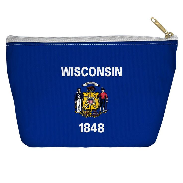 Wisconsin Flag Accessory Tapered Bottom Pouch