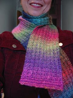 """""""My Garter Slipped"""" Scarf!  Doesn't this look pretty?  I especially like the variegated yarn.  May be on my to-do list sooner rather than later."""