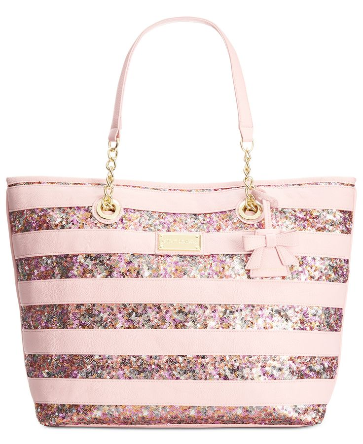 Betsey Johnson Macy's Exclusive Stripe Sequin Tote - Handbags & Accessories - Macy's