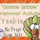 Free! Thanksgiving Grammar Pack Freebie contains 8 pages of No Prep, Low Ink activities!