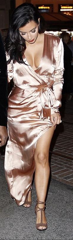 Kim Kardashian, pink satin long sleeve wrap gown