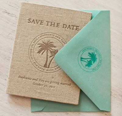 Save-The-Date Passport Books  I've seen plenty of passport invitations and save-the-dates for destination weddings, but none as classy as these by Atheneum Creative. The covers were letterpress printed on linen and inside each book was a map of the Bahamas, weekend information and travel tips. Such a lovely keepsake.
