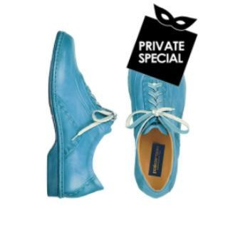 Sky Blue Italian Hand Made Calf Leather Lace-up Shoes by Pakerson