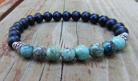 Mens African Turquoise with Black Onyx Bracelet – BlueStoneRiver