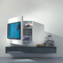 Moderne TV Wandhalterung / schwenkbar / lackiertes Holz
