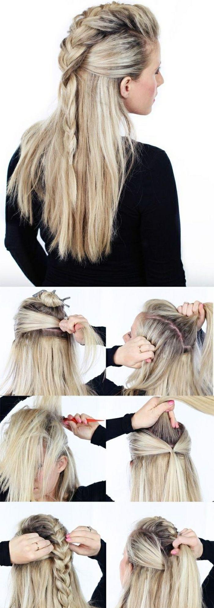 Wikinger Lagertha, blonde Haare, rosa Maniküre, Tutorial, wie man eine Coif macht