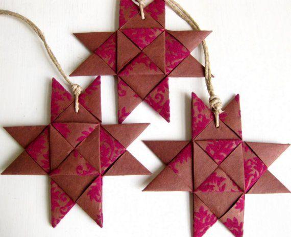 Danish star hand folded ornament plaited red Christmas