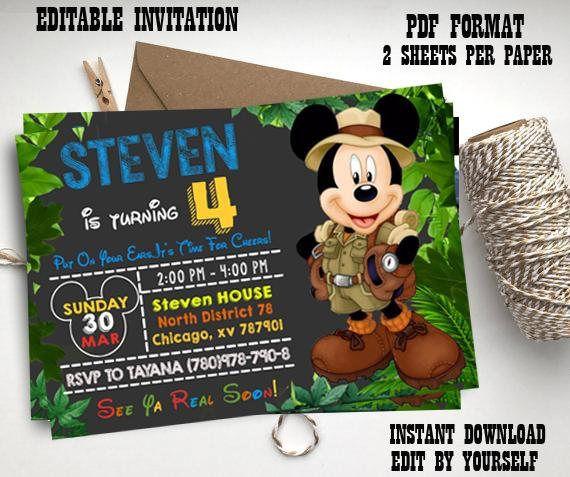 Instant Download-mickey safari invitation mickey invite