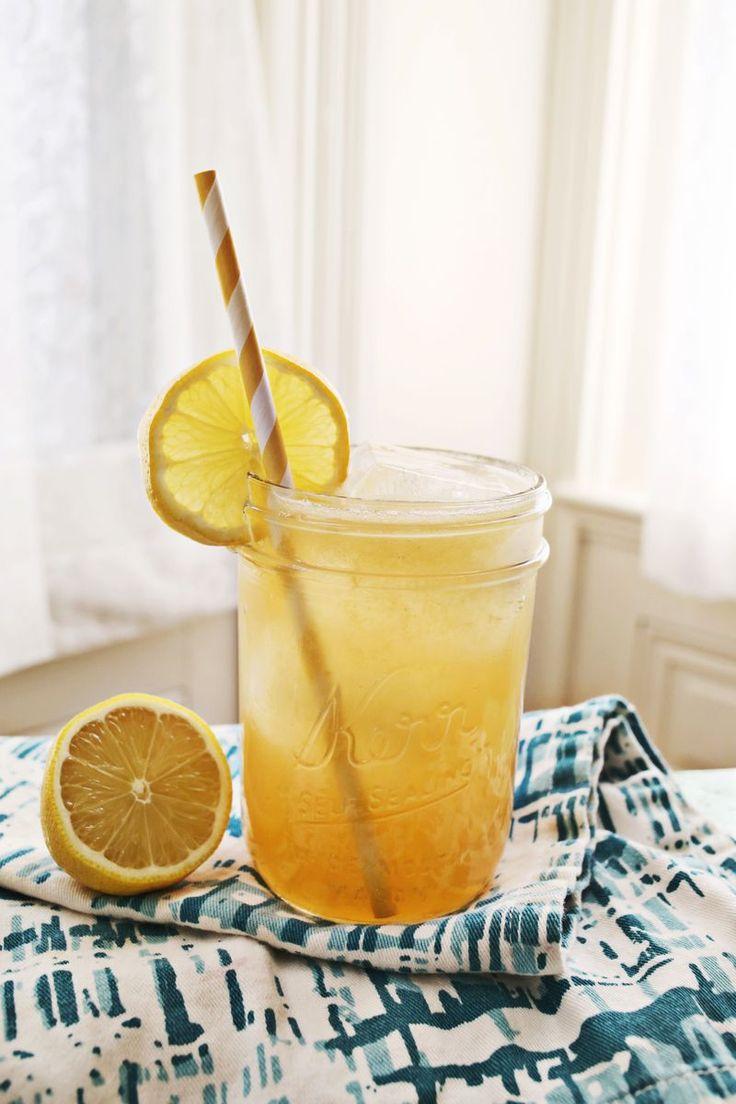 Whisky Lemonade with Honey. Serves one. 2 tablespoons whiskey (I like Maker's Mark) juice of two fresh lemons club soda honey simple syrup sweetened lime juice