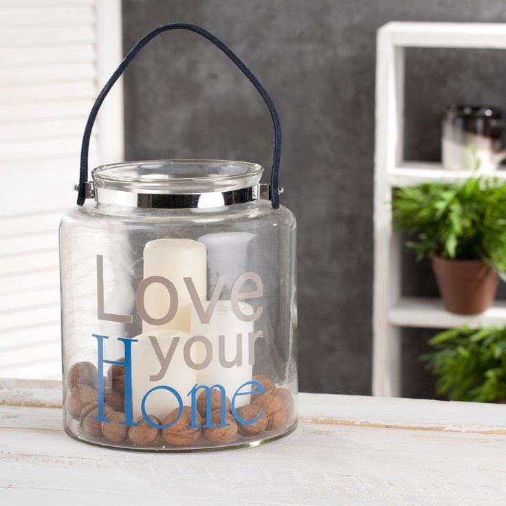 Pojemnik Love your Home, szklany z rączką wys. 25cm, 25cm - Dekoria  #love #milosc #dekoracje #prezenty #gift #celebration #ideas