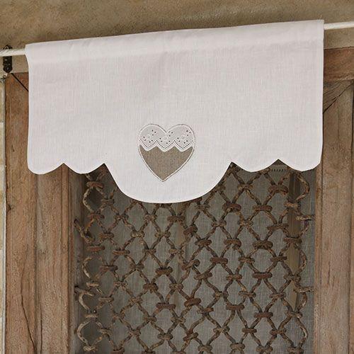 Cantonnières : Cantonnière coeur arrondie N7 - Escapades Champêtres linge de maison décoration