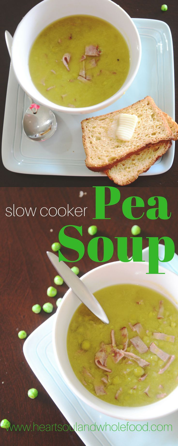 This pea soup recipe is made in the slow cooker with turkey bacon and bone broth. This hearty pea soup recipe requires little time and few ingredients.