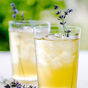 Iced Lavender Green Tea.  4 green-tea bags      1 1/2 teaspoons fresh lavender blossoms or 3/4 tsp. dried lavender      Lavender sprigs (optional)    Preparation        1. Heat 1 qt. water in a medium saucepan until it just begins to simmer. Remove from heat and add tea and lavender.      2. Steep for 5 minutes. Strain into a heatproof pitcher or bowl. Let cool.      3. Pour into ice-filled glasses and garnish with lavender sprigs if you like.      Note: Nutritional analysis is per cup.