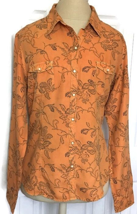 Ryan Michael Western XL Blouse Shirt Silk Blend Pearl Snaps Rodeo Apricot  | eBay