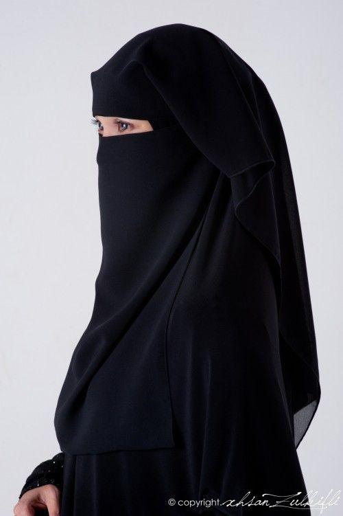 Elegant Muslim Woman in Black Niqab