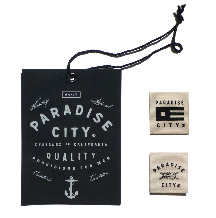Great typography on a hangtag. Paradise City - Menswear on Behance.  Woven label. black white anchor paradise city clothing tag lettering