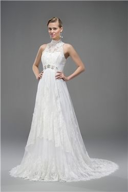 Chic & Modern Court Sleeveless Beading Floor-Length A-line Garden/Outdoor High Neck Wedding Dress