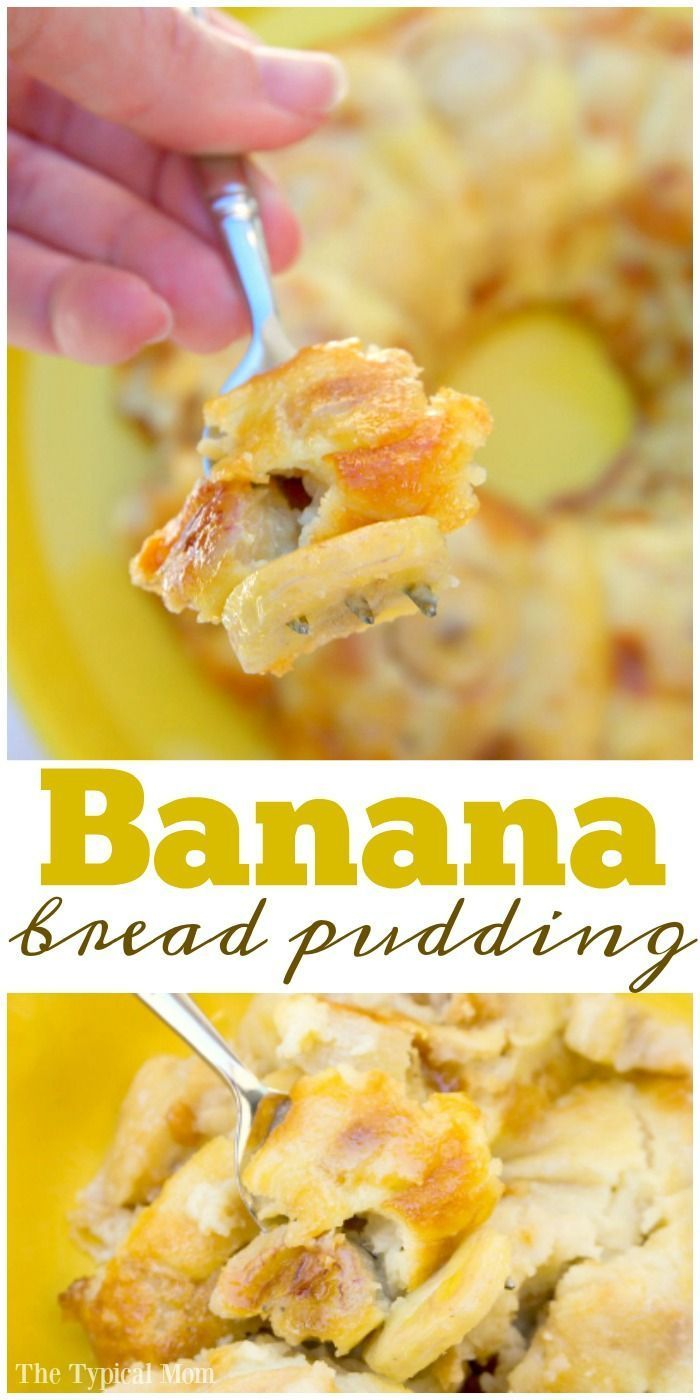 Easy banana bread pudding recipe that is so amazing!! You have to try this recipe for easy bread pudding and add your own mix ins! via /thetypicalmom/