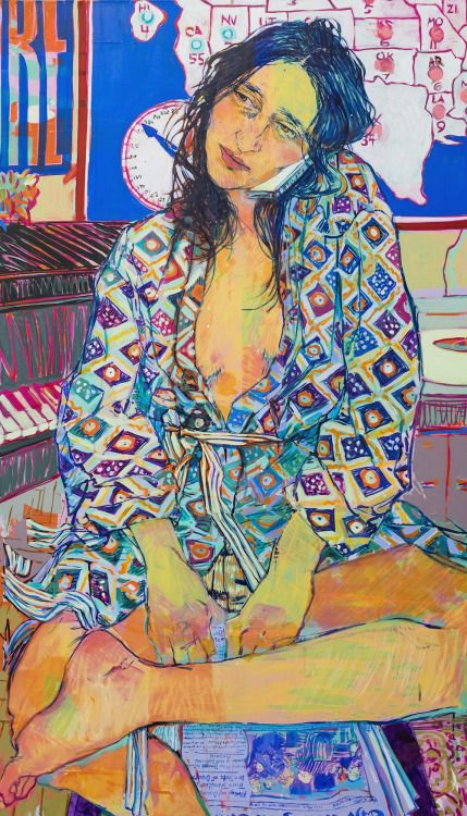 Hope Gangloff_Tiffany Pentz with News_2016 acrylic and cut paper on canvas