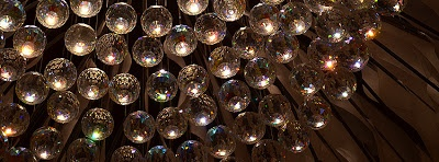 """A chandelier at the Museum of Design Atlanta (MODA) made of silk and Swarovski crystals, part of """"The South's Next Wave: Design Challenge"""". This photo is already sized for use as a Facebook Cover Photo...feel free to use it!"""