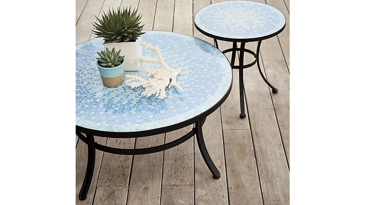 """Mosaic Blue Coffee Table  33"""" wide; 16"""" tall"""