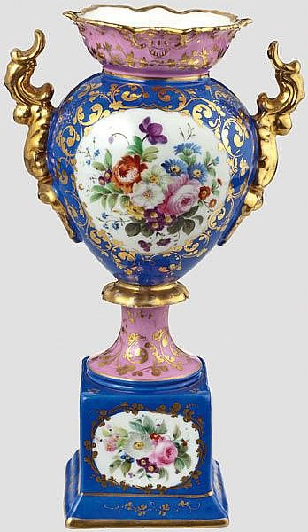 RUSSLAND ZARENREICH, A magnificent vase Russian private manufactory mid-19th century, White blue and lilac-coloured glazed porcelain. Profusely painted with very fine coloured and golden flower decoration. Height 27 cm. Very good intact condition and quality.
