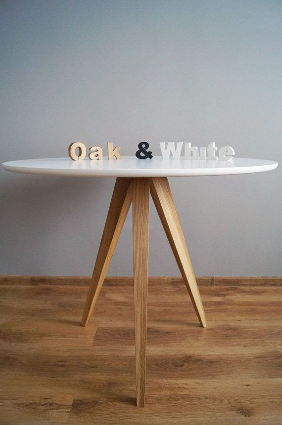 Table Oak and White circle 3 diameter 90cm by PracowniaEMBE