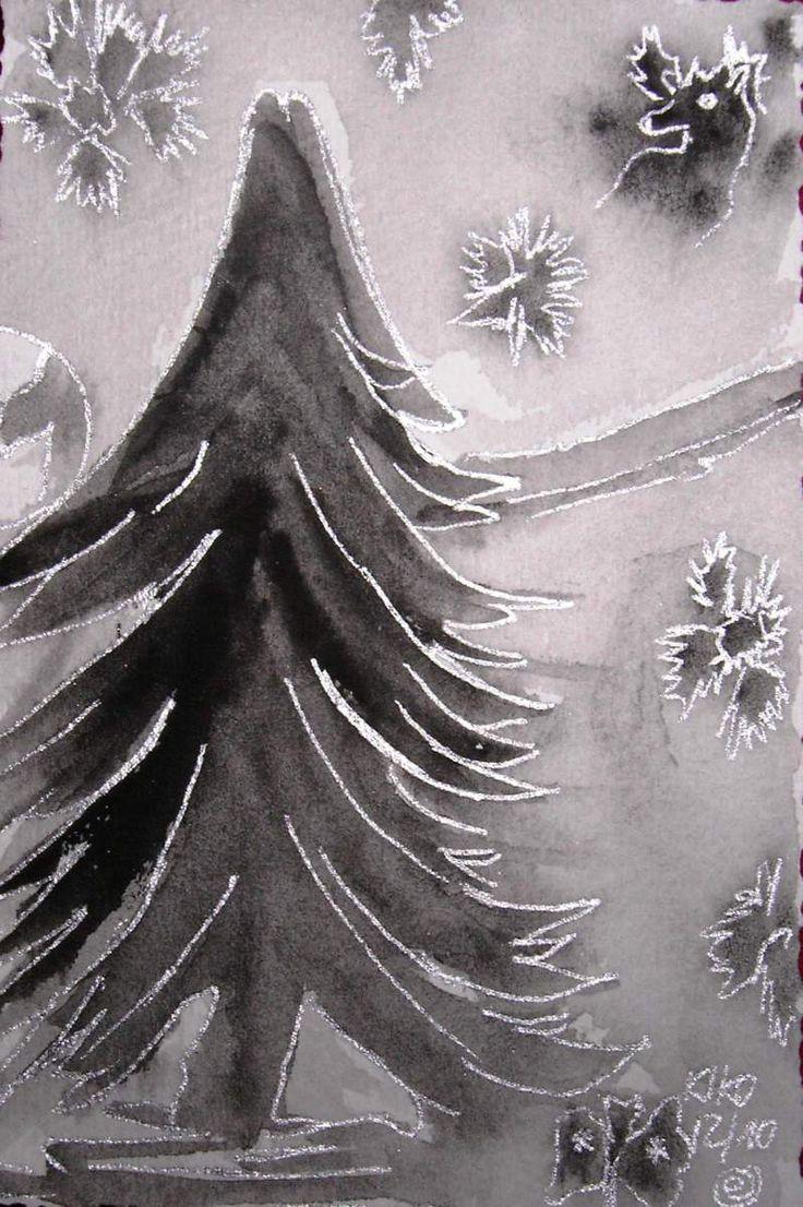 Kirsten Kohrt - Winter darkness aquarell... Credit: KIRSTEN KOHRT  (Click to Support Artist)