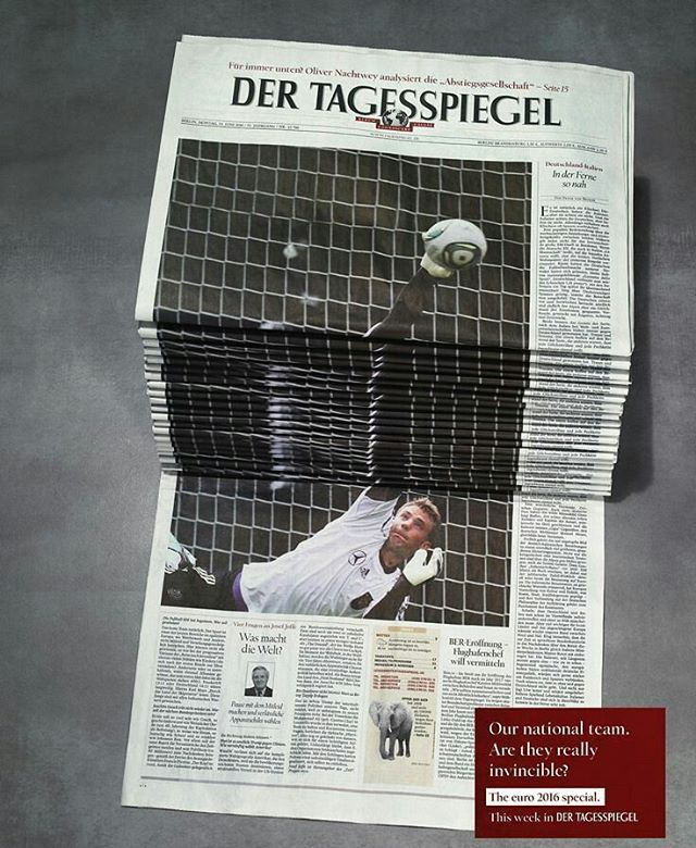 """Nice #newspaper ads by #dertagesspiegel 🗞  #football #fussball #goalkeeper #bundesliga #naitonalteam #Germany #deutschland #marketing #advertorial #creativeads #innovations #socialmediamarketing #digitalmarketing #graphicdesign #creativeideas #marketing101 #marketingtips #creativity"" by @createads. #startupgrind #successmindset #businesslife #inspiringquotes #successquote #entrepreneurquotes #ceo #motivational #leadership #siliconvalley #advertisement #adv #salebahrain #items #bahrain_adv…"