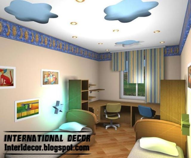 cool and modern false ceiling design for kids room interior - false gypsum ceiling