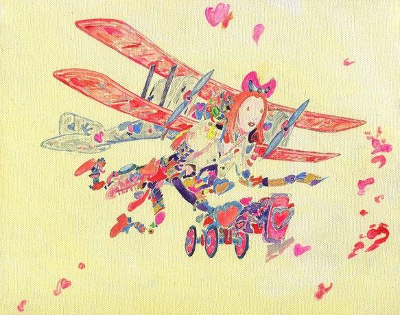 ピンクリボンちゃんの冒険「空人 KUJIN」シリーズ、スチームパンクアート可愛いさと夢と愛と希望にあふれた少女です。複葉機 エンジン2組画材 アクリル絵の具、... ハンドメイド、手作り、手仕事品の通販・販売・購入ならCreema。