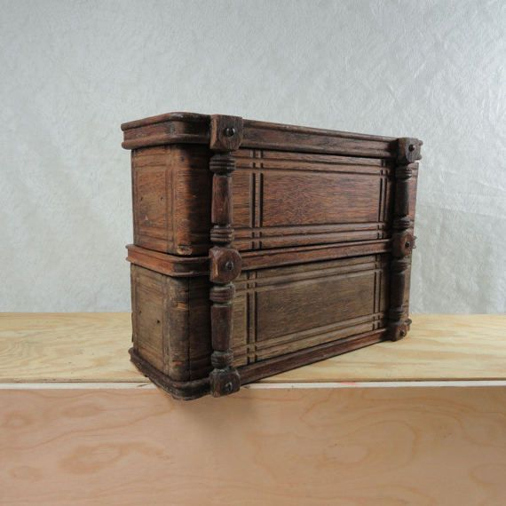 Two Vintage Wood Sewing Machine Drawers in a Treadle Sewing Machine Case Frame #234
