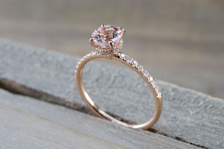 14k Rose Gold Dainty Round Morganite With Round Cut Diamonds Ring ER010002 – Accesories