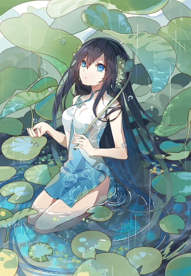 Anime picture 625x900 with  kaku-san-sei million arthur fre long hair single tall image blue eyes black hair fringe sitting looking away traditional clothes bent knee (knees) bare legs kneeling parted lips rain floral print arm up girl dress