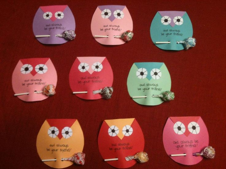 Owl Valentines I made for my son's classmates including Dum Dum lollipops