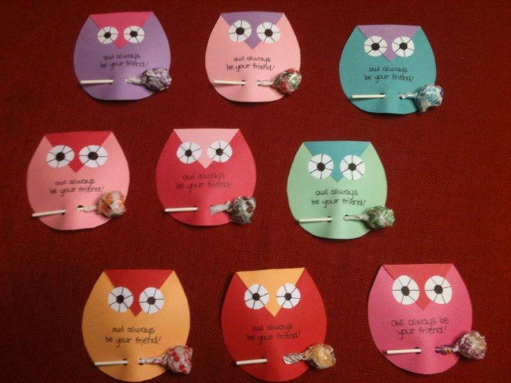 Owl Valentines I made for my son's classmates including Dum Dum lollipops