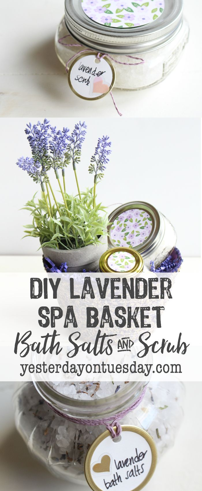 DIY Lavender Spa Basket with easy Lavender Bath Salts and Lavender Scrub recipes. Thoughtful gift idea for Mother's Day, teacher appreciation, or for a friend's birthday! gift | lavender | mason jars | bath salts | scrub