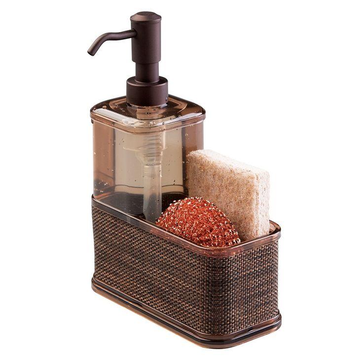mDesign Soap Dispenser Pump, Sponge and Scrubber Caddy Organizer for Kitchen Sink - Bronze