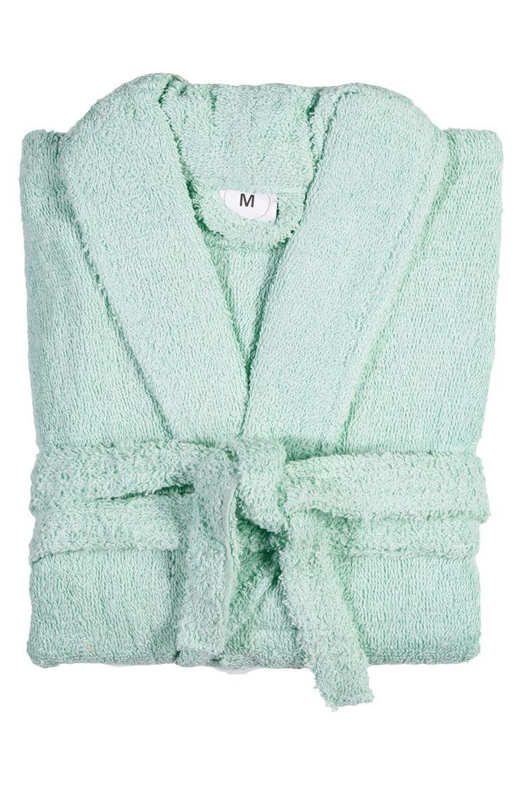 Peignoir de bain vert, Du S au XL - 100 % coton
