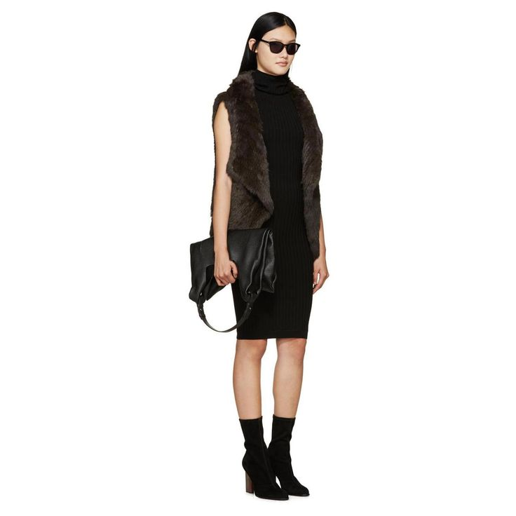 Meteo by Yves Salomon Women's Brown Knit Fur Vest – Styleallinone