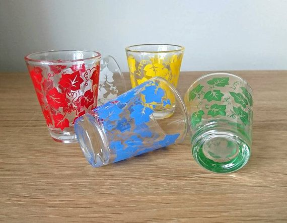 Vintage Shot Glasses Christmas Design Vintage 60s shot glasses