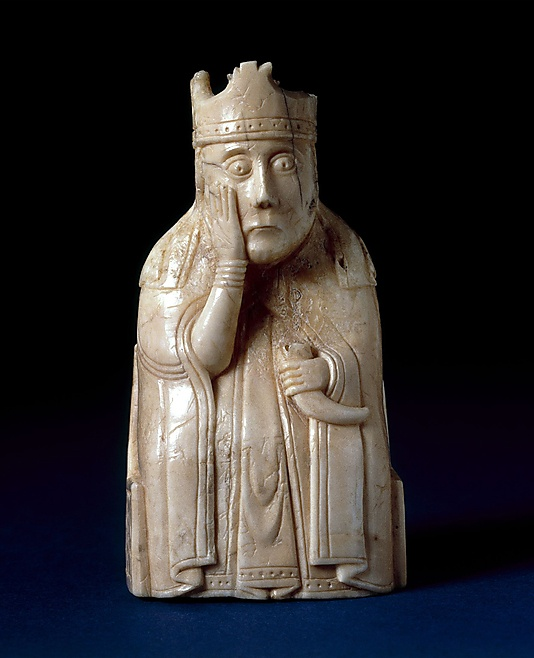 """Found on the Isle of Lewis, Outer Hebrides, Scotland, before 11 April 1831 acquired by the British Museum between November 1831 and January 1832. Publication History: Madden, Sir Frederic, """"Historical remarks on the introduction of the game of chess into Europe and on the ancient chessmen discovered in the Isle of Lewis,"""" in Archaeologia"""