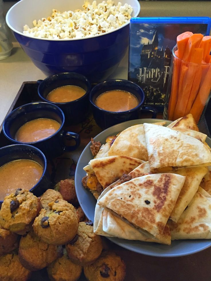 harry potter movie night. butterbeer, miss molly's meat pies (the easy way), carrot wands, pumpkin muffins, popcorn, & bertie botts every flavor beans, of course.