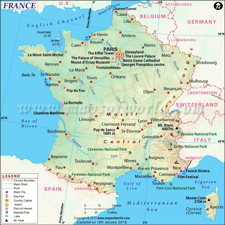 France Map - Download map of France showing its capital, cities, roads, rivers. Get more informative France maps like physical, outline, political, etc