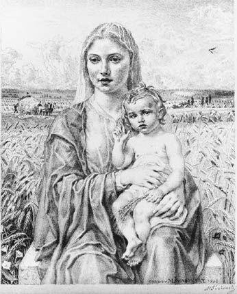"""Max Švabinský: """"Madonna von Chodov"""". Lithographie, 295 x 236 mm, Chodov 1953"""